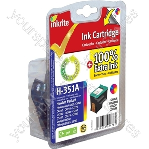 Inkrite NG Ink Cartridges (HP 351) for HP Vivera PhotoSmart C4280/C5280 - CB337EE Colour