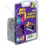 JR Inkjet Refill Ink Cartridges 4 Pack for Brother MFC 210C 420CN 3240C - LC41 LC47 LC900 BCMY