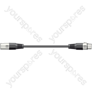 DMX lead, 3-pin XLR plug to 3-pin XLR socket - 1.5m