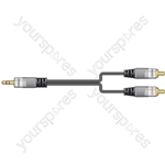 Audio interconnect, 2 x RCA phono plug - 1 x 3.5mm stereo plug, 1.2m