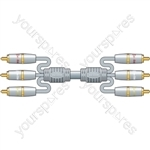 AV Link Range, Stereo Audio / Video Lead, RCA Plugs, 3.0m