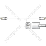 RJ11 modem lead with BT adaptor, 10.0m, White