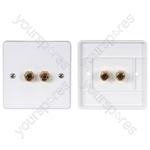 Speaker wallplate, 2 x 4mmØ gold binding posts