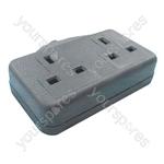 MSC47B 2 gang 13A rubber extension socket, Black