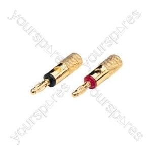 Gold plated banana plug, 4.2mmØ cable, set of 2, Black
