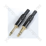 Gold plated 6.3mm jack plug, black body- mono