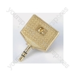 Adaptor 3.5mm stereo plug to 2 x 3.5mm stereo sockets - all gold