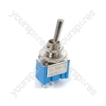Miniature toggle switch, 1 x on/off/on, 7.9 x 13.2mm, 250Vac, 3A