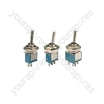 Sub-miniature toggle switch, 1 x on/off, 3.2 x 8.2mm, 250Vac, 1A